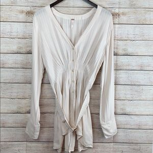 Free People Belted Long Sleeve Shirt